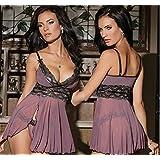 KTYRONE Europese en Amerikaanse plus size sexy lingerie sexy perspectief gaas thuis sexy nachthemd sexy pyjama. Kleur wit,Purple,XXL