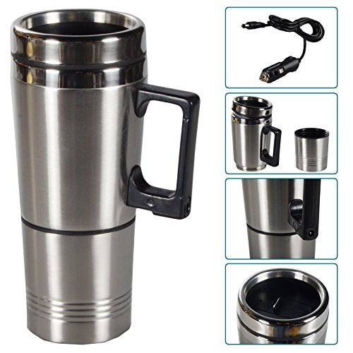DRULINE Beheizbarer Trinkbecher Kaffebecher Teebecher Auto Thermobecher hält Getränke warm aus Edelstahl | L x B x H 7 x 7 x 20 cm | Silber Schwarz