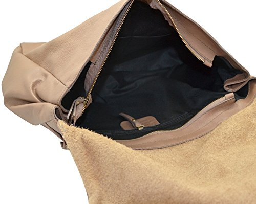 ROMANA Sac épaule sac portés épaule sac rabat grand et spacieux, cuir de vachette café au lait