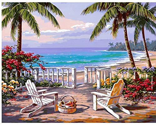 WAZHCY Urlaub kokospalme Meer Landschaft DIY DIY malerei by Zahlen Moderne wandkunst leinwand malerei einzigartiges Geschenk wohnkultur 40x50 cm,Mit Holzrahmen,I