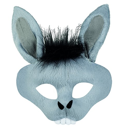 NET TOYS Esel Maske mit Ohren Tiermaske Maultier Eselsmaske Halbmaske - Donkey Ohren Kostüm