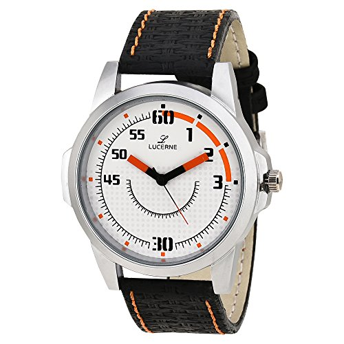 LUCERNE Analogue Men's White Designer Dial Black Leather Strap Casual Gifts Watch For Men Gifts For Friends