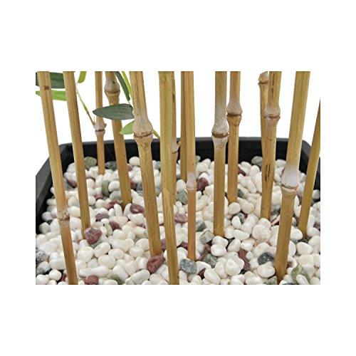 artplants Künstlicher Bambus in Dekoschale, helle Kunststämme, 150 cm – Bambus im Topf/Kunstpflanze Bambus