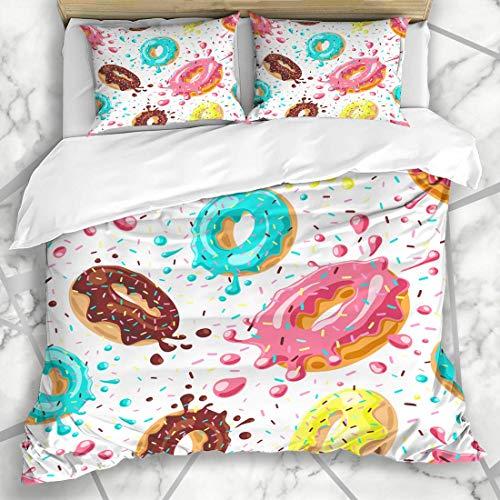 Soefipok Bettbezug-Sets Mint Pattern Donuts Rosa Schokolade Zitronenblau Donut Essen Trinken Süßigkeiten Kuchen Donut Frühstück Mikrofaser Bettwäsche mit 2 Pillow Shams (Rosa Schokolade Und Bettwäsche)