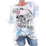 Luckycat T-Shirt mit Bändern Skull Head Muster Bluse für Damen Sommer Sweatshirt