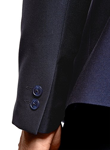 oodji Ultra Herren Tailliertes Sakko mit Revers aus Seidenstoff Blau (7500N)