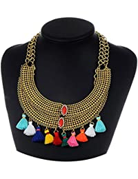 Young & Forever Boho Gypsy Collection Gold Plated Layering Multicolor Tassel Necklace For Women / Girls N461 Diwali...