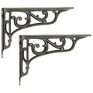Pair of Cast Iron Edwardian Scroll Shelf Brackets (9