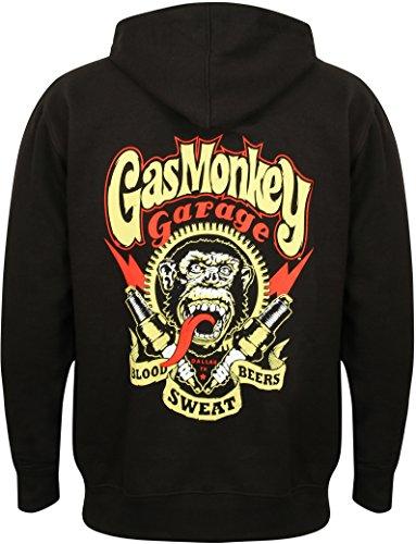 Herren Gas (Gas Monkey Garage Hoodie Sparkplugs Front Printed Zip Black-XL)