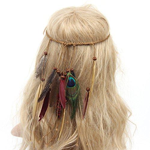Haarbands,Sasstaids Frauen böhmische Feder Stirnband Hippie Kopfschmuck Haarschmuck BG