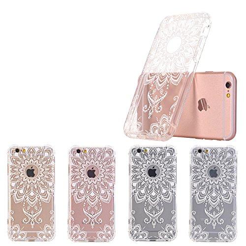 iPhone 7 hüllt, LUOLNH Weiß Henna Mandala Schlank Stoß- Klare weiche flexible TPU rückseitige transparent Abdeckung für Apple iPhone 7 [4,7 Zoll] White-A