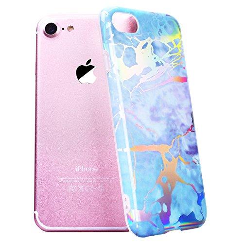 SMART LEGEND iPhone 7/iPhone 8 Weiche Silikon Hülle Marmor Muster Schutzhülle Hülle Handyhülle Crystal Kirstall Clear Etui Ultra Slim Design Glatt Durchsichtig Weich TPU Handy Tasche Soft Case Silicon Bunt