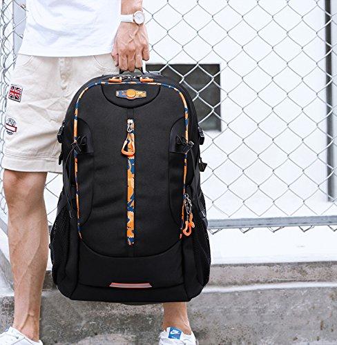 FANDARE Escursionismo Alpinismo Zaino All'aperto Schoolbag Campeggio Viaggio MacBook Notebook Portatile Laptop 15 Pollici Borsa Alta Capacità Unisex Oxford Polyester 48L Blu Nero