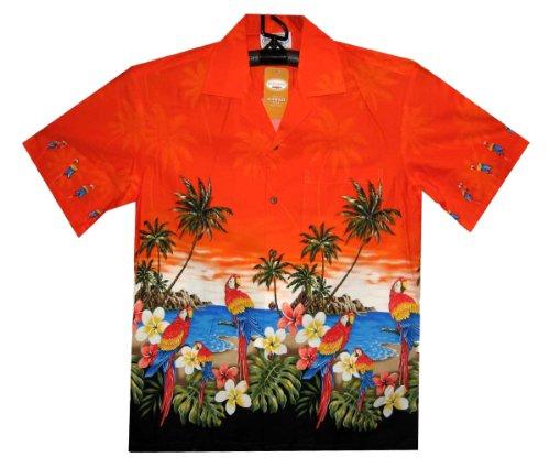 PLA Original Hawaiihemd Papagei Orange mit Schwarz, XL (Hawaiian Shirt Honolulu)