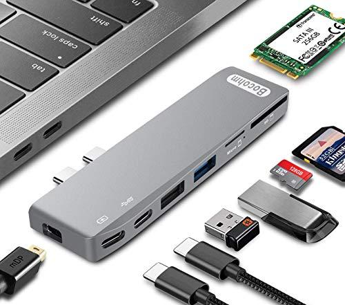 USB C-Hub, Typ C-Hub mit MiniDP 5K @ 60Hz-Videoausgang, SATA III M.2 SSD-Speicherdesign, Unterstützung von 240 GB, 256 GB, 500 GB, Kompatibel mit MacBook Pro 13