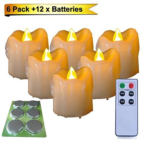 Homemory set di 6 led votiva candele con 12 x batteries e controllo remoto 4/5/6/8 ore timer , 5 x 5 cm senza fiamma tremolante il tè luci candele batteria operato, long batteria la vita 150+ ore, decorazioni natalizie / matrimonio