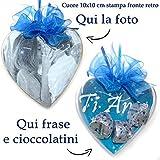 Cuore personalizzato con foto cioccolatini frase Idea Regalo per San Valentino