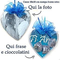 Idea Regalo - Cuore personalizzato con foto cioccolatini frase Idea Regalo per San Valentino