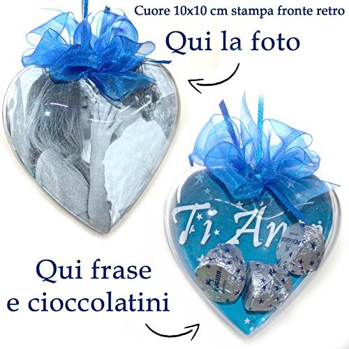 Pieffeline cuore con cioccolatini e foto personalizzatoe frase idea regalo per san valentino vari colori