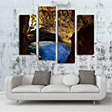 WOONN Wall Art Painting The Picture Print On Canvas for Home Decor Decoration Gift Abstract Canvas Split 4 Part Canvas Wall Art Pictures Höhle,30 * 60cmX2 30 * 80cmX2