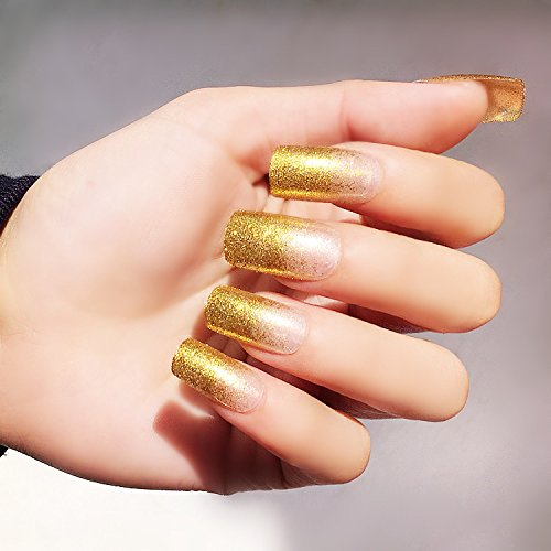 YUNAI 24PCS/Satz Falsche Fingernägel - Die glänzende und modische Light-Gold Lange Größe Fake Nail für Damen (Gefälschte Nägel, Leim Auf)