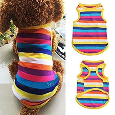 ASTrade Pet Dog Rainbow Vest Clothes T-Shirt Puppy Costumes Cute Soft Summer Stripes Outfit by ASTrade