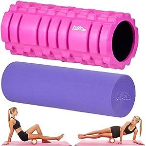 Just be. Muscle Point 2 en 1 - Rodillo de Espuma para masajes y Entrenamiento - Rosa/Morado