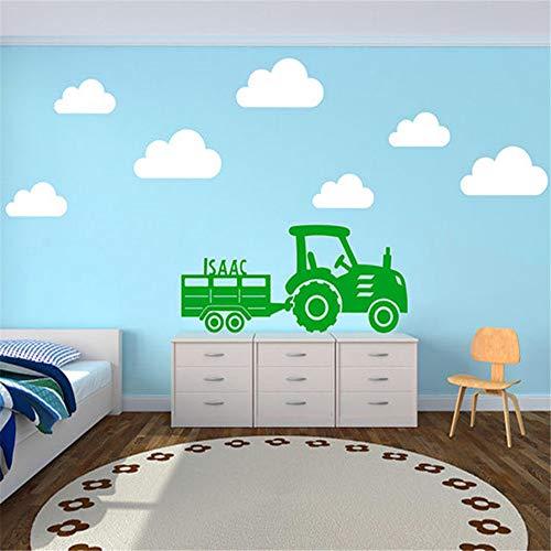 GJQFJBS Motivational Custom Child Name Decals Traktor und Anhänger mit Wolken Wandaufkleber Wandaufkleber Kunst Wohnkultur blau 40x70cm