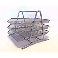 Babygiraffe 3 Tier Mesh Document Tray Letter Paper Trays Desk Tidy Metal Organiser A4 (3 Tier Tray SILVER)