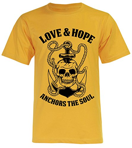 PALLAS Unisex's Anchor Sailor Love and Hope Vintage Funny T Shirt Yellow