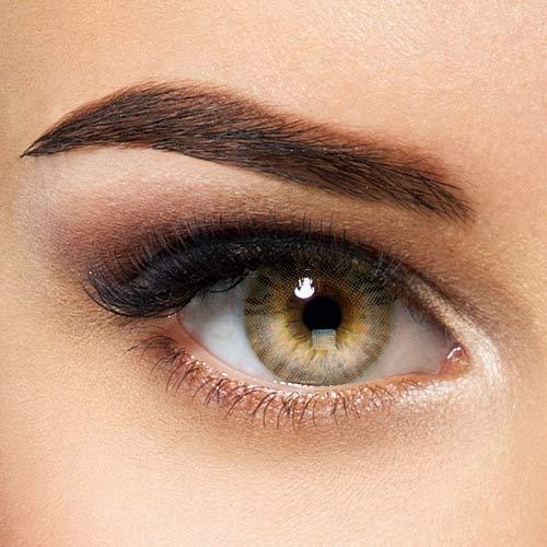 Natürliche Hidrocor farbige Kontaktlinsen Ochre - braune Jahreslinsen ohne Stärke (2 Stück)