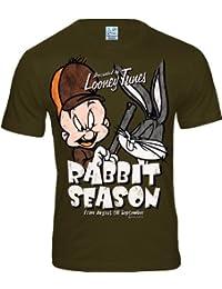 LOGOSH!RT Bugs Bunny & Elmer Fudd Retro Comic Herren T-Shirt RABBIT SEASON - KHAKI Gr. L (L148)