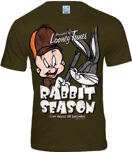 logoshrt-bugs-bunny-elmer-fudd-retro-comic-herren-t-shirt-rabbit-season-khaki-gr-l-l148