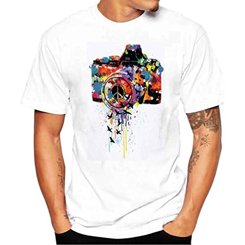 ❤️Tops Blouse Homme T-Shirt, Amlaiworld Hommes Tops d'impression T-Shirt Manches Courtes Blouse (S, Blanc)