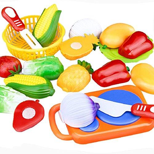 Küchenspielzeug Lebensmittel,Amcool 12PC Rollenspiel Komisch Schneiden Frucht Gemüse Kinder Kind Pädagogisches Spielzeug Küche Spielzeug Geschenke