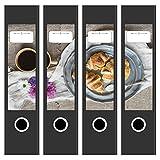 4 x Akten-Ordner Etiketten / Aufkleber / Rücken Sticker / mit Design Motiv Frühstück mit Croissants / für breite Ordner / selbstklebend / 6cm breit