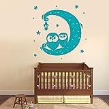 Adesivo da Parete in Vinile Simpatico Gufo sulla Luna Lanterna Notturna Interni Animale Decorazioni per Bambini Adesivi murali per Cameretta F 3 85x87 cm