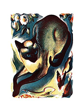 PAINTINGS ANIMAL CAT BUTTERFLY SIAMESE FRAMED ART PRINT PICTURE & MOUNT F12X745