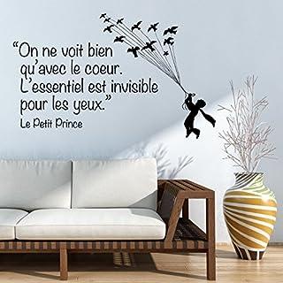 """Adesiviamo® Le Petit Prince–""""On ne Voit bien qu'avec le coeur"""" Wall Art Sticker, Wall Deco, vinyl, black, L"""