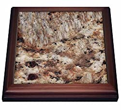 3dRose trv_97963_1 Santa Cecilia granite print Trivet with Ceramic Tile, 8 x 8, Brown