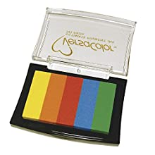 """RAYHER """"Versacolor 5-Colours"""" Stamp Pad, Rainbow, 4.7 x 7.5 cm"""