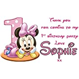 21 x PERSONALISED party bag labels/stickers - Minnie Mouse 1st birthday girl