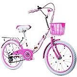 DUWEN Kinder Fahrrad Folding Speed 16/18/20/22 Zoll Mädchen 6-12-jährige Schüler, Mädchen, Prinzessin, Lady, Pink-Weiß-Faltrad (größe : 20 inch)