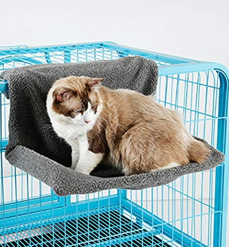 XIAOPANG Haustier Hängematte Katze Käfig Balkon Heizung Hängen Bett Haustier Matratze Katzenstreu (48 * 30 * 25 cm),Gray -
