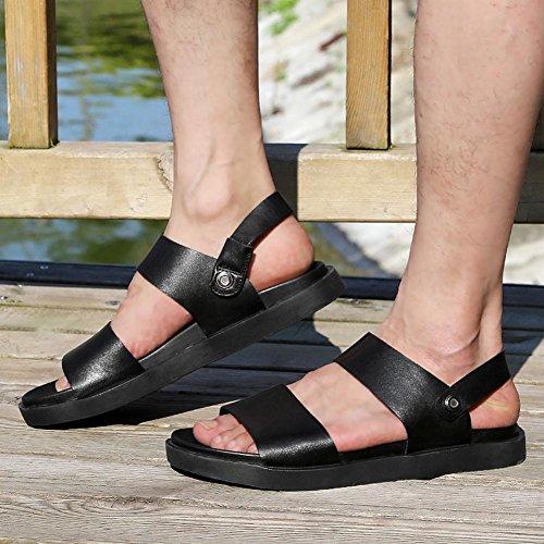 Einfache Ledersandalen Mode und bequeme hochwertige Rohstoffe Herren Sommer Waten Schuhe Black