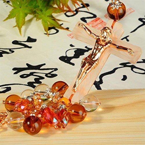 l Anhänger Kunsthandwerk Hängend Dekoration Jesus Messing Statue Zum Fahrzeug LKW Zuhause Büro Kristall Perlen Religiös Dekor ()