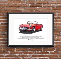 George Morgan Illustration MGB Roadster Art Poster A3-Format