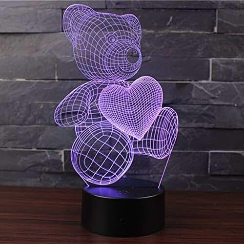 3D Lámpara de Escritorio Mesa 7 cambiar el color botón táctil de escritorio del USB LED lámpara de tabla ligera Decoración para el Hogar Decoración para Día de San Valentín Mejor Regalo (OSO LINDO)