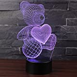 3D Optische Illusions-Lampen NHsunray LED 7 Farben Touch-Schalter Ändern Nachtlicht Für Schlafzimmer Home Decoration Hochzeit Geburtstag Weihnachten Valentine Geschenk Romantische Atmosphäre (SÜSSER BÄR)