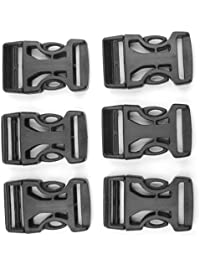 SWT 6 Pcs 25mm Plastic Belt Strap Webbing Side Release Buckles